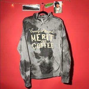 Custom acid washed distressed coffee hoodie